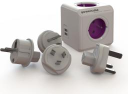 PowerCube Rozgałęźnik ReWirable USB + 4 wtyczki Travel Plugs różowy