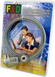 Linka zabezpieczająca 4World Linka zabezpieczająca notebook na szyfr