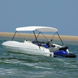 vidaXL Daszek bimini do łodzi, 2 pałąki, biały, 150x120x110 cm
