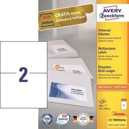 Avery Zweckform AVERY LABEL 210X148MM INKJETLASERCOPY Universal-Labels Inkjet, Laser Colorlaser copier white 210x297mm 200 labels - 3655
