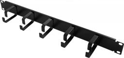 LogiLink Organizator kablowy 19'', 1U, 5 metalowych uchwytów, czarny (OR101B)
