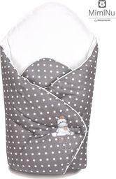 MimiNu Rożek niemowlęcy haft 75x75 cm Milusie Kropki Ciemnoszare MimiNu