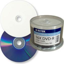 Traxdata DVD-R 4,7GB 16X WHITE WATERPROOF GLOSSY INK/THERMAL PRINT CAKE*50 907CK50IWGPRO