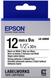 Epson LK4WBW Strong Adh. Black on White tape 12mm (C53S654016)