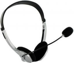 Słuchawki z mikrofonem 4World srebrne, regulacja głośności na kablu (2994)