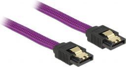 Delock Kabel SATA 6Gb/s 30cm z pozłacanymi zatrzaskami Premium fioletowy (83690)