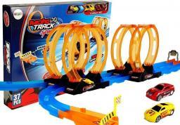 LEANToys Tor Wyścigowy Racing z 4 Pętlami Dwa Autka 181 cm