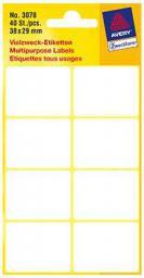 Avery Zweckform Białe minietykiety do opisywania ręcznego; 40 etyk./op., 38 x 29 mm, białe (4004182030783)