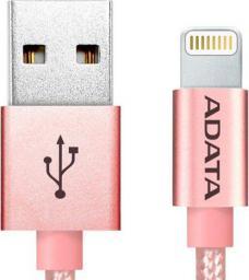 Kabel USB ADATA Lightning, certyfikat MFI, 1m, Aluminium, Rose Gold (AMFIAL-100CMK-CRG)