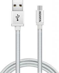 Kabel USB ADATA microUSB 1m Srebrny (AMUCAL-100CMK-CSV)