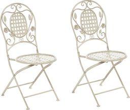 Shumee Zestaw 2 krzeseł ogrodowych metalowy złamana biel BIVIO