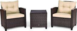 Costway Komplet mebli rattanowych stolik +2 krzesła (HW63759BN)