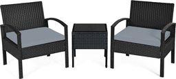 Costway Meble ogrodowe rattanowe zestaw stolik + krzesła (HW63218GR)