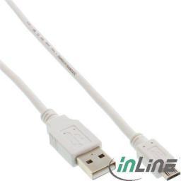 Kabel USB InLine microUSB 5m Biały (31750W)
