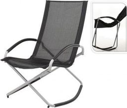 KMTP Krzesło ogrodowe bujane składane czarne 98x70x90cm