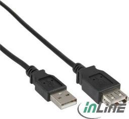 Kabel USB InLine USB A/A, 0.5m, Czarny (34650B)