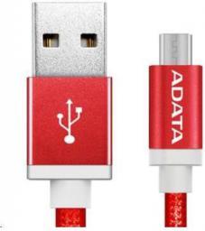 Kabel USB ADATA USB - Micro USB czerwony odwracalny (AMUCAL-100CMK-CRD)