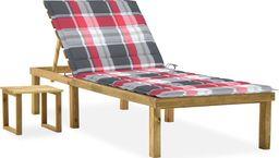 vidaXL Leżak ogrodowy ze stolikiem i poduszką, impregnowana sosna