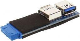 Adapter USB InLine 2 x USB 3.0 - 19-pin Czarno-niebieski (33444A)