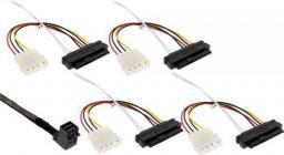 InLine Kabel Mini SAS HD SFF-8643 kątowy - 4x SFF-8482 + Power 1m (27633B)