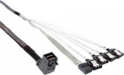 InLine Kabel Mini SAS HD SFF-8643 kątowy - 4x SATA + Sideband 1m (27631B)