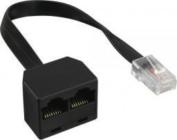 InLine Splitter ISDN 1 do 2, RJ45, czarny, bez rezystora (69933B)