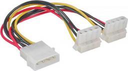 InLine Kabel zasilania 4 Pin Molex na 2x 4 Pin Molex, kątowy 0.15m - 29659W