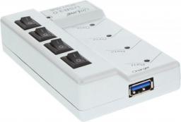 HUB USB InLine 3.0 Aktywny 4 Portowy z wyłącznikami, z zasialczem 3.5A srebrny (35394I)