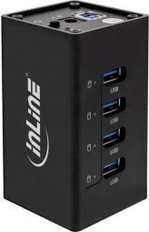 HUB USB InLine 3.0 Aktywny 4 Portowy Aluminium Case z 2.5A zasilaczem, czarny (35395A)