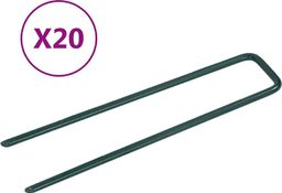 vidaXL Szpilki do sztucznej trawy, 20 szt., kształt U, żelazo