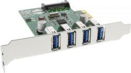 Kontroler InLine 4x USB 3.0 + śledź low profile / PCIe (76661C)
