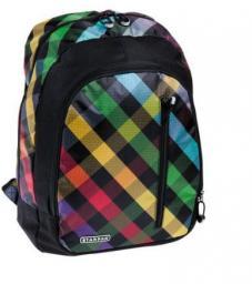 Starpak Plecak szkolny Checkered czarny w kolorową kratkę (348771)
