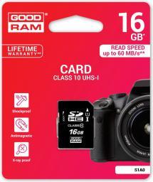 Karta pamięci GoodRam SD 16GB Class 10 UHS I (S1A0-0160R11)