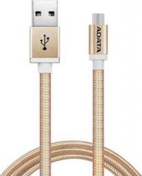Kabel USB ADATA USB-microUSB 1m Gold alu-knit (AMUCAL-100CMK-CGD)