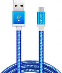 Kabel USB ADATA USB-microUSB 1m Blue alu-knit (AMUCAL-100CMK-CBL)