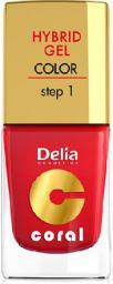 Delia Cosmetics Coral Hybrid Gel Emalia do paznokci nr 01 czerwony 11ml