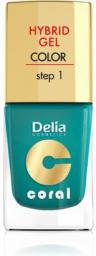 Delia Cosmetics Coral Hybrid Gel Emalia do paznokci nr 10 metaliczna zieleń 11ml