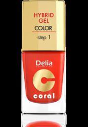 Delia Cosmetics Coral Hybrid Gel Emalia do paznokci nr 14 pomarańczowa czerwień 11ml
