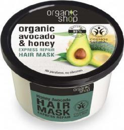 Organic Shop Maska do włosów Regeneracja i Wzmocnienie organiczne awokado i miód 250 ml
