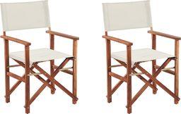 Shumee Zestaw 2 krzeseł ogrodowych akacjowych ciemne drewno z białym CINE