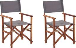 Shumee Zestaw 2 krzeseł ogrodowych akacjowych ciemne drewno z szarym CINE