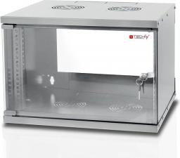 """Szafa Techly Szafka wisząca ECO 19"""" 6U/320mm szklane drzwi zmontowana szara (022212)"""