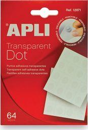Apli Kółka mocująca APLI typu dot, usuwalne, 64szt., transparentne