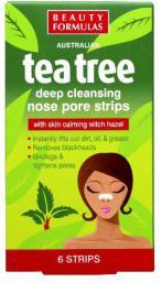 Beauty Formulas Tea Tree Głęboko oczyszczające paski na nos 6 szt.