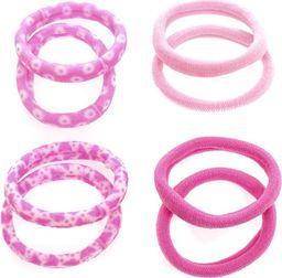 Pepco Zestaw różowych gumek do włosów ze wzorem, 8 sztuk