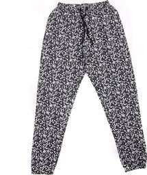 Pepco Damskie, czarne, długie spodnie od piżamy w białe kwiatki M