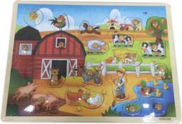 Brimarex Puzzle drewniana z pinezkami farma - 1572820