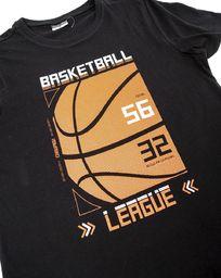 Pepco Męski, czarny t-shirt z pomarańczowym nadrukiem XL