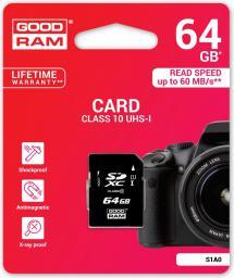 Karta pamięci GoodRam SD 64GB Class 10 UHS I (S1A0-0640R11)