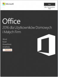 Microsoft Office 2016 dla Użytkowników Domowych i Małych Firm macOS (W6F-00952)